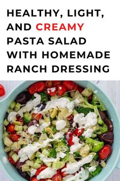 healthy, light, and creamy bow tie pasta salad is packed with fresh veggies and tossed with homemade ranch dressing. With all this delicious goodness, you better believe it's good for you too! The red onion adds a wonderful crunch and the creamy dressing brings everything together. It's great the next day as well after all the flavors have time to get to know each other. Creamy Pasta Salads, Pasta Salad Recipes, Vegan Aioli Recipe, Maple Bacon Brussel Sprouts, Pumpkin Crisp, Quick Recipes, Cheap Recipes, Homemade Ranch Dressing, Lentil Salad