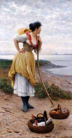 ИТАЛЬЯНСКИЙ ХУДОЖНИК EUGENE DE BLAAS  1843-1932 ГГ