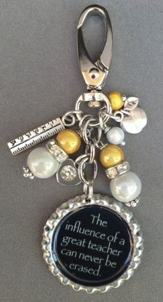 YELLOW TEACHER bottle cap purse charm bag bling/ I'm sure this could be turned into a DIY.