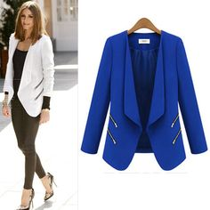 Womens OL Blazer Coat Casual Suit Business Outerwear Cardigan Jacket Solid New Casual Suit, Casual Blazer, Blazer Suit, Suit Jacket, Ladies Blue Dress, Plus Size Blazer, Blazer Fashion, Blazers For Women, Suits