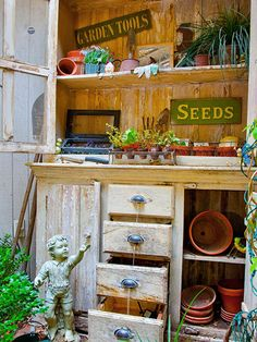 The Langes found an antique armoire that they turned into a stunning water feature and potting bench. The top of the armoire holds containers, seeds, and tools, as well as display small potted plants.