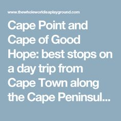 Cape Point and Cape of Good Hope: best stops on a day trip from Cape Town along the Cape Peninsula, South Africa | The Whole World Is A Playground