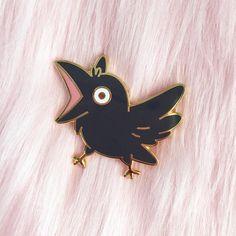 Schreien Crow hart Emaille Pin / / vergängliche Art Collab