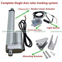"Single Axis Solar Tracker Kit Sunlight Tracking14"" Linear Actuator&Light Sensor"