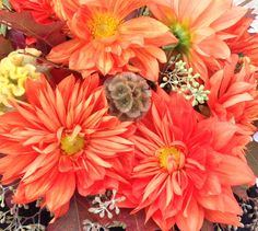 Fabulous fall color with dahlias &  scabiosa pods for outdoor dining tables.