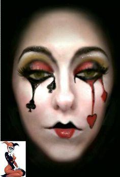Harley Quinn inspired Mardi Gras makeup