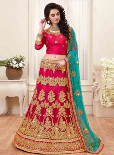 This season your look gets better definition with just a little attention to detail. Get the simplicity and grace with this rhot pink net lehenga choli. The lovely embroidered, lace, resham and zari w. Ghagra Choli, Bridal Lehenga Choli, Saree Wedding, Silk Dupatta, Lehnga Dress, Lehenga Blouse, Beautiful Gown Designs, Beautiful Gowns, Eid Dresses