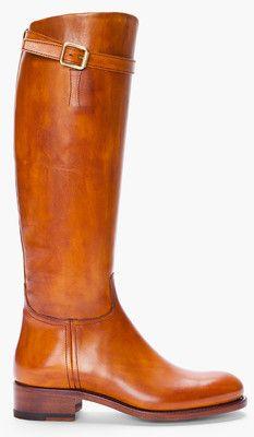 RUPERT SANDERSON Tan Leather Vermont Riding Boots - Polyvore