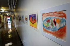 Art Exhibition of clients' work displayed in the corridor as part of our Open Week. http://www.headway-cambs.org.uk/