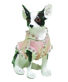 Black White Chihuahua Dog Pink Jacket Jewel Encrusted Trinket Box makes a great gift for Mother's Day, birthdays, Christmas or other special occasion.