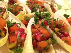 Winter endive bites with persimmon and pomegranate