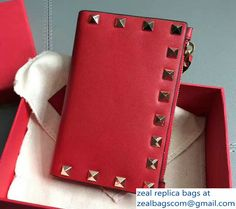 Valentino Calfskin Rockstud Coin Purse And Card Case Red