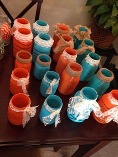DIY wedding. Teal and orange. Chalk board. Burlap flowers. Country chic! Mason jar centerpieces. Contact mbrandon3058@gmail.com if interested in buying the lot!
