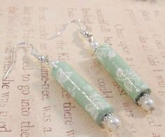 Floral Paper Bead Earrings With Glass Pearls