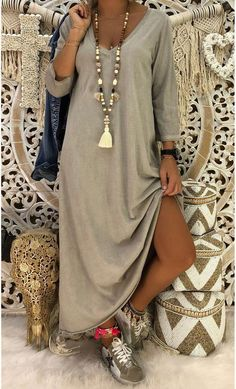 Robe Magda ML Taupe - MinoDuSud everyday outfits everyday outfits ideas everyday outfit. Look Fashion, Daily Fashion, Everyday Fashion, Spring Fashion, Womens Fashion, Fashion Trends, Modest Fashion, Fashion Dresses, Look Boho