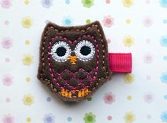 Brown Owl with Shocking Pink Feathers Hair Clippie. $3.00, via Etsy.