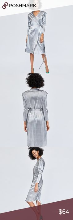 Zara Silver Pleated Wrap Dress Sarong-style dress with a plunging V-neckline, long sleeves and pronounced shoulders with shoulder pads.  Silver Wrap Dress, color block with a bold color pump. Zara Dresses Midi