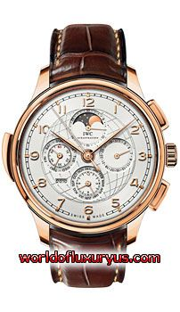 This IWC Portuguese Grande Complication Mens Watch, IW377402 features 45mm 18kt Rose Gold case, Silver dial, Sapphire crystal, Fixed bezel, and a Alligator/Crocodile Leather Brown Strap. IWC Portuguese Grande Complication Mens Watch, IW377402 also features Automatic Chronograph Movement, Analog display, Date at 3 o'clock. This watch is water resistant up to 30m/99ft. - See more at: http://www.worldofluxuryus.com/watches/IWC/Portuguese/IW377402/185_210_7903.php#sthash.JoWjPhjn.dpuf