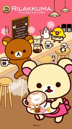 Mini Drawings, Kawaii Drawings, Rilakkuma Wallpaper, Little Twin Stars, Cute Cartoon, Plushies, Hot Chocolate, Teddy Bear, Sanrio Characters