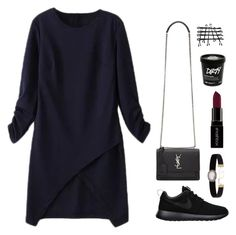 """""""Street Style Vancouver"""" by itsmytimetoshinecoco ❤ liked on Polyvore featuring WithChic, NIKE, Yves Saint Laurent, Soru Jewellery and Smashbox"""