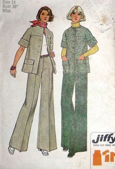 1970s uncut Misses Jiffy Simplicity 6529 sewing pattern for a Short Sleeve Jacket and Wide Leg Pants. At AngelGrace on Etsy.
