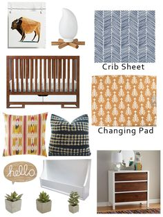Modern boho adventure nursery for a boy. Mustard, navy and wood elements along with succulents!