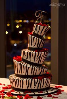 Zebra print wedding cake. Made by Cakes by Jeryll