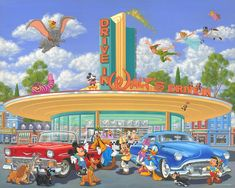 Walt's Drive In - Art and Paintings by Artists Wyland, James Coleman, Rodel Gonzalez, Dan Mackin,