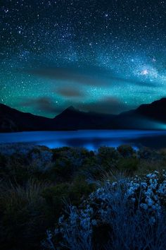 Blue starry sky blue sky night beautiful clouds stars mountains