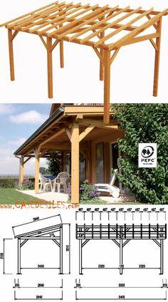 Abri terrasse bois à Prix Discount : Abri terrasse bois adossé 15.33mc 0700104 classe 3