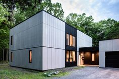Brooklyn studio AlexAllen has revamped a home in New York State, trading its plywood siding for cement panels and blackened timber Fibre Cement Cladding, Fiber Cement Siding, Plywood House, Plywood Siding, Studios Architecture, Modern Architecture, Cement House, Vertical Siding, Exterior Cladding