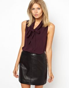 burgundy chiffon top with leather skirt