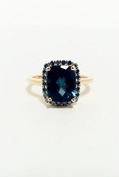 London Blue Topaz with Blue Diamonds Ring -- 14K Yellow Gold