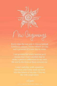 Affirmation - new beginnings by carlymarie law of attraction planner, positive mind, positive vibes Positive Thoughts, Positive Quotes, Gratitude Quotes, Mantra, Morning Affirmations, Positive Affirmations, Healing Affirmations, Mind Body Soul, Mindfulness