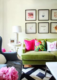 Adding a pop of color at home {bright pinks and mossy greens}