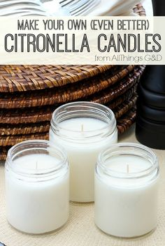 "Keep your #FourthofJuly party or next backyard BBQ mosquito-free with these DIY Citronella Candles! DIY Citronella Candles - far more effective than ""citronella…"