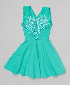 Look at this Mint Bow Skater Dress - Girls on #zulily today!