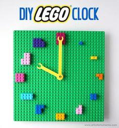 LEGO Clock Make your own custom clock out of LEGO bricks!Make your own custom clock out of LEGO bricks! Lego For Kids, Diy For Kids, Crafts For Kids, Diy Crafts, Sala Geek, Deco Lego, Lego Bedroom, Minecraft Bedroom, Bedroom Kids