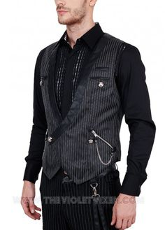 Fantastic pinstripe vest for men! Black lapels, zippered pocket with chain detail, so hot! The Violet Vixen - Baron Von Geist Waist Coat, $124.00 (http://thevioletvixen.com/clothing/mens/waist-coats/baron-von-geist-waist-coat/) steampunk waistcoat goth pinstripe chain zipper mens