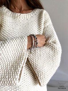 Você se atreve a tricotar uma camisola de malha de arroz? Crochet Cardigan, Knit Crochet, Knit Vest, Crochet Beanie, Tricot Simple, Moss Stitch, Knit Fashion, Fashion Outfits, Knitting Designs