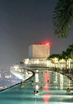 Pool on the 57th Floor, Marina Bay Sands Casino, Singapore..
