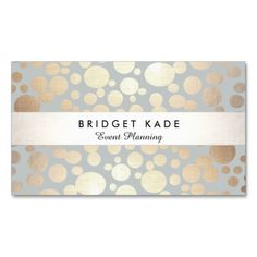 Modern Event Planner Gold & Silver Spotted Pattern Business Card Template. Fun trendy style card great for hair stylists, makeup artists, event planners and shop owners. Fully customizable.