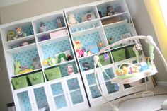 Add a fun fabric to the back of a bookshelf for a surprising pop of color/pattern!