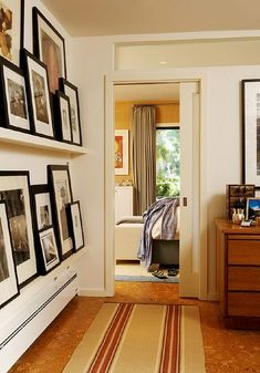 like the picture shelves and cork floor