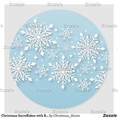 Christmas Snowflakes with Baby Blue Backing Classic Round Sticker