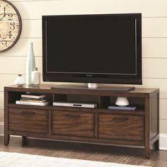 The spacious tabletop and multiple storage options of the Wylder TV Console by Scott Living makes this TV stand the perfect addition to any home. Features classic style and sturdy construction with 3 open shelves and 3 storage drawers. Local Furniture Stores, Buy Furniture Online, Selling Furniture, Find Furniture, Furniture Outlet, Discount Furniture, Living Room Carpet, Rugs In Living Room, Living Room Furniture