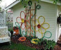 Garden Art using old hoses.