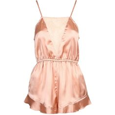 Pretty Frill Playsuit ❤ liked on Polyvore featuring jumpsuits, rompers, playsuits, flounce romper, playsuit romper, ruffle romper, pink rompers and red romper