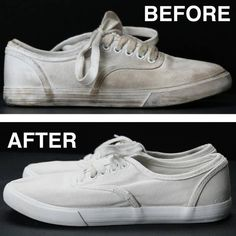 Water * Dirty white shoes * A small mixing bowl * An old toothbrush * Sun! Instructions: * Brush off your shoes to remove any big pieces of dirt. * Mix a tablespoon of baking soda, 1/2 tablespoon water, a