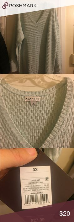 Mint Vneck Pullover Sweater Thin sweater, perfect for work. Gorgeous mint color with a Vneck Ava & Viv Sweaters
